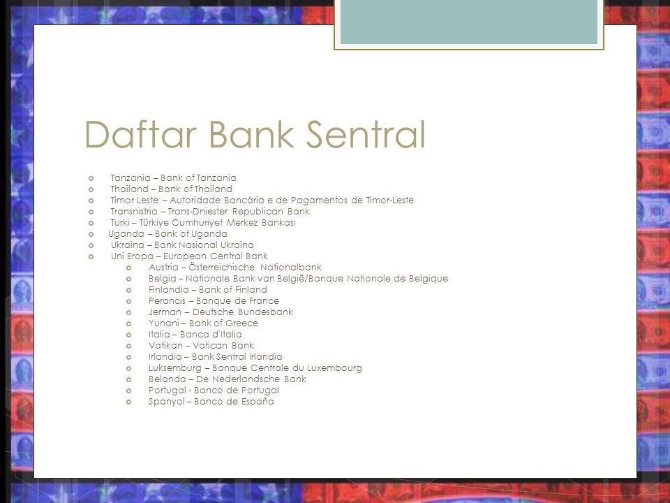 Daftar Bank Sentral Tanzania – Bank of Tanzania