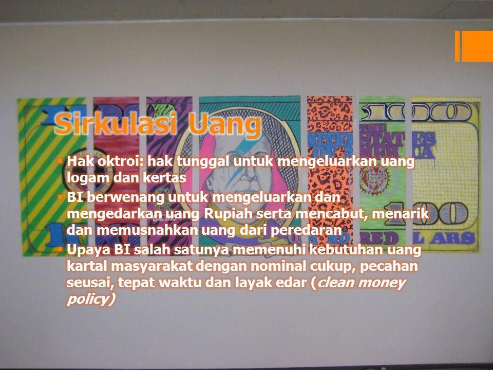 Sirkulasi Uang Hak oktroi: hak tunggal untuk mengeluarkan uang logam dan kertas.