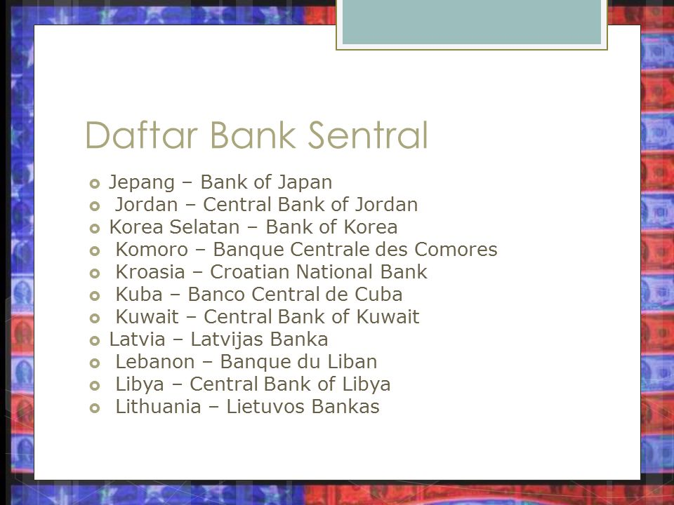 Daftar Bank Sentral Jepang – Bank of Japan