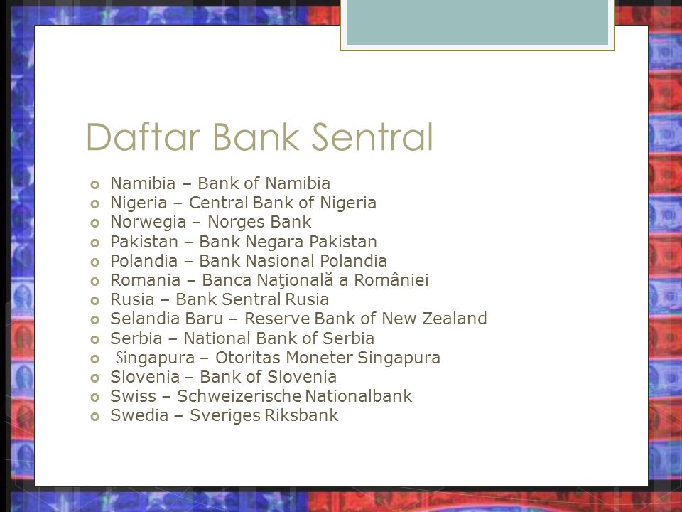 Daftar Bank Sentral Namibia – Bank of Namibia