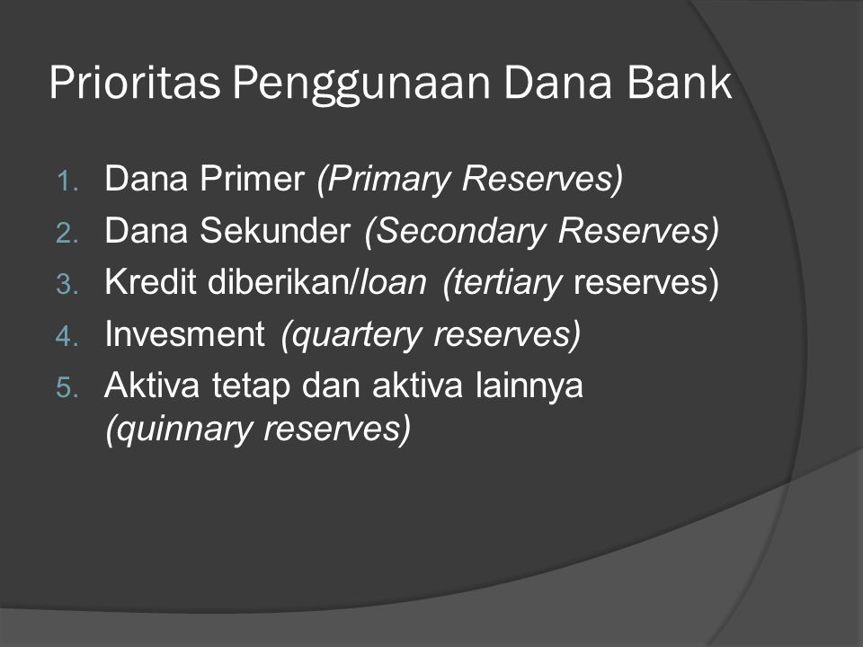 Prioritas Penggunaan Dana Bank