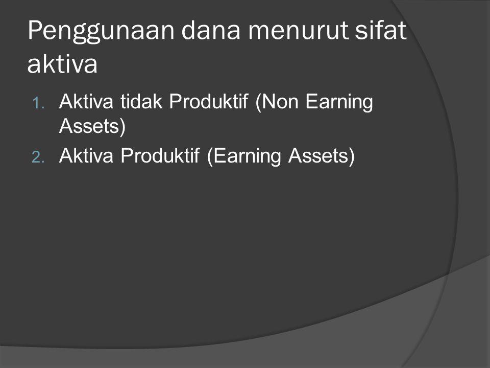 Penggunaan dana menurut sifat aktiva