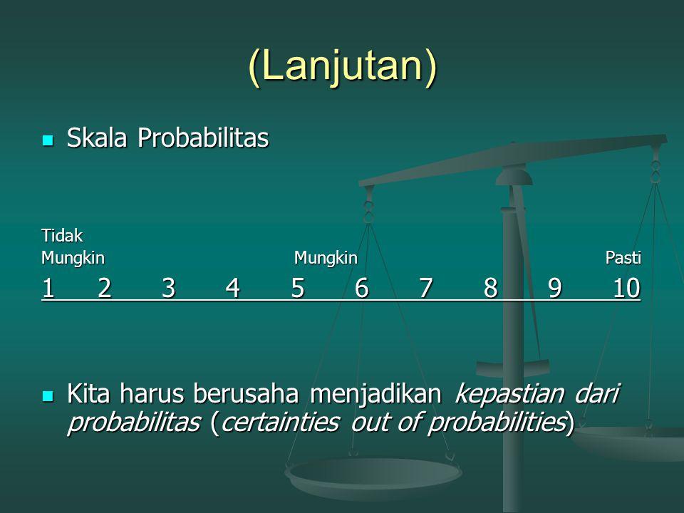 (Lanjutan) Skala Probabilitas 1 2 3 4 5 6 7 8 9 10