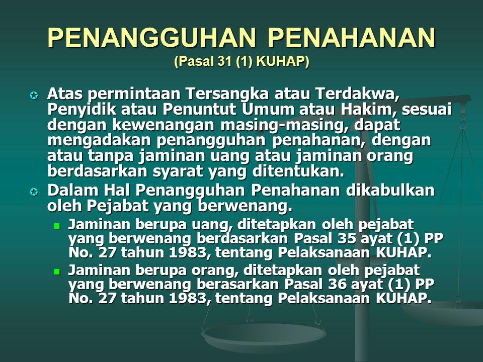 PENANGGUHAN PENAHANAN (Pasal 31 (1) KUHAP)