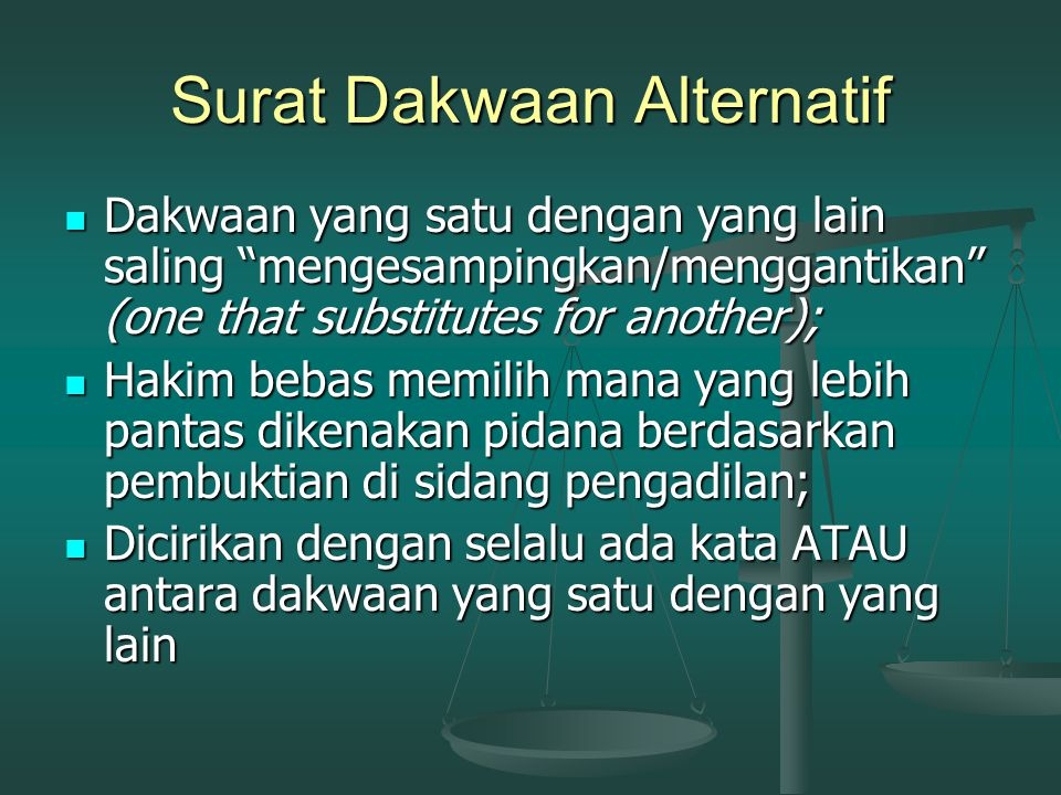 Surat Dakwaan Alternatif