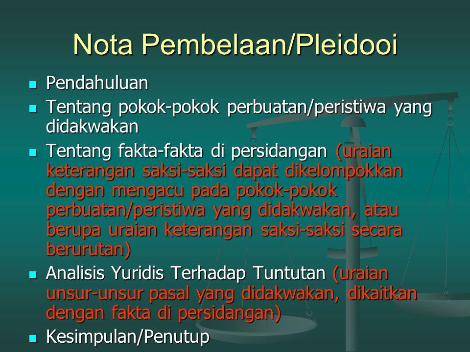 Nota Pembelaan/Pleidooi