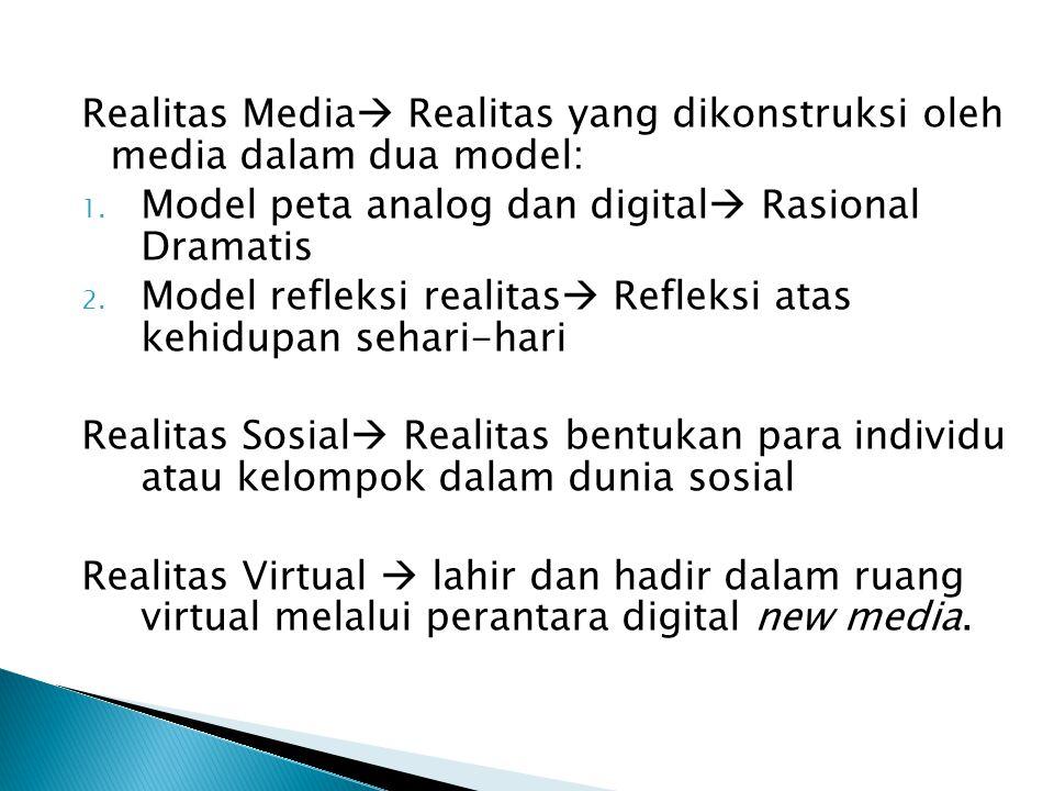 Realitas Media Realitas yang dikonstruksi oleh media dalam dua model:
