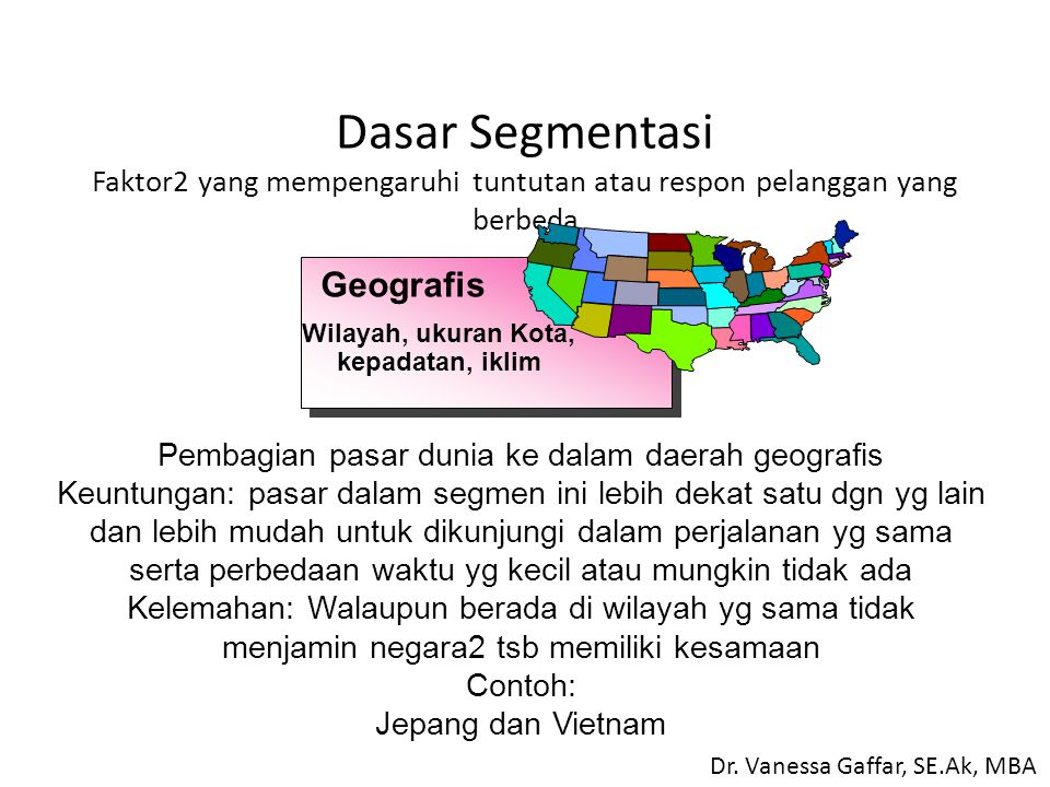 Wilayah, ukuran Kota, kepadatan, iklim