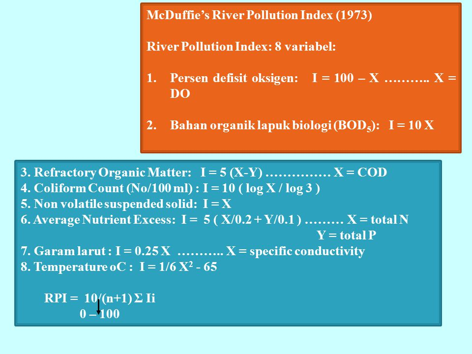 McDuffie's River Pollution Index (1973)