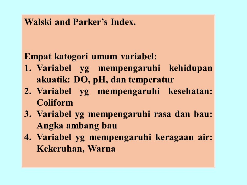 Walski and Parker's Index.