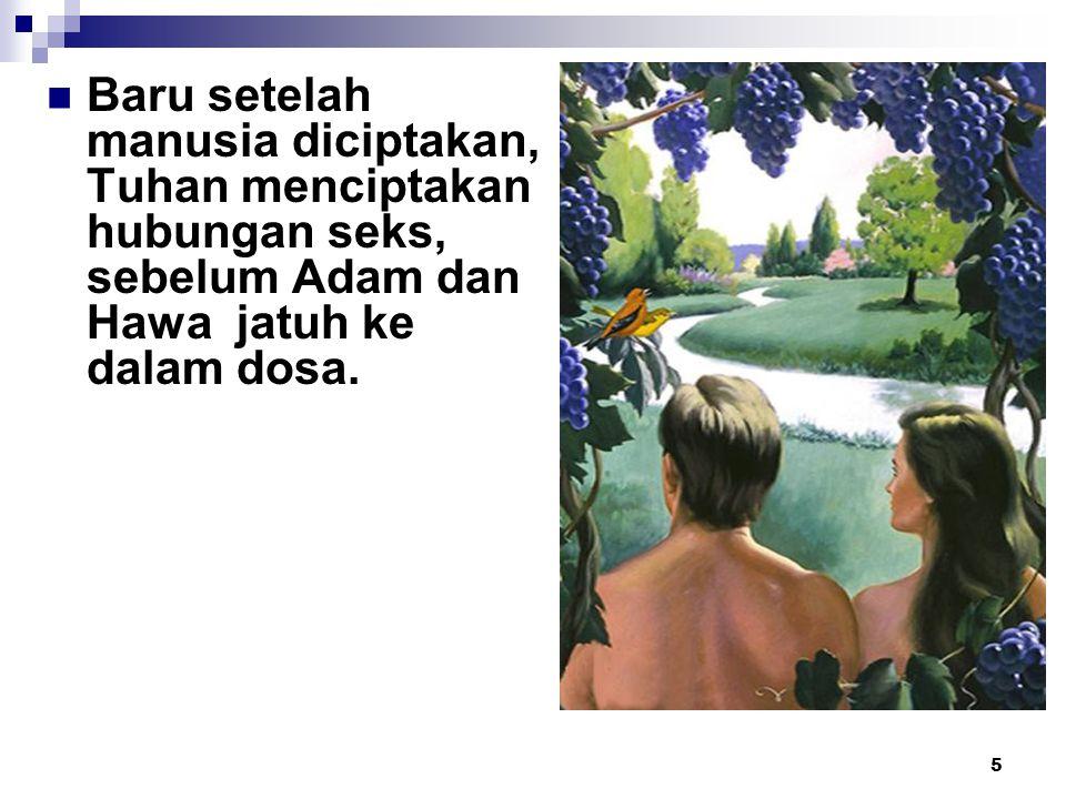 Baru setelah manusia diciptakan, Tuhan menciptakan hubungan seks, sebelum Adam dan Hawa jatuh ke dalam dosa.