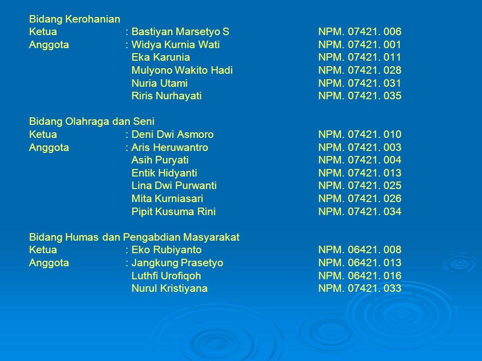 Bidang Kerohanian Ketua : Bastiyan Marsetyo S NPM. 07421. 006. Anggota : Widya Kurnia Wati NPM. 07421. 001.