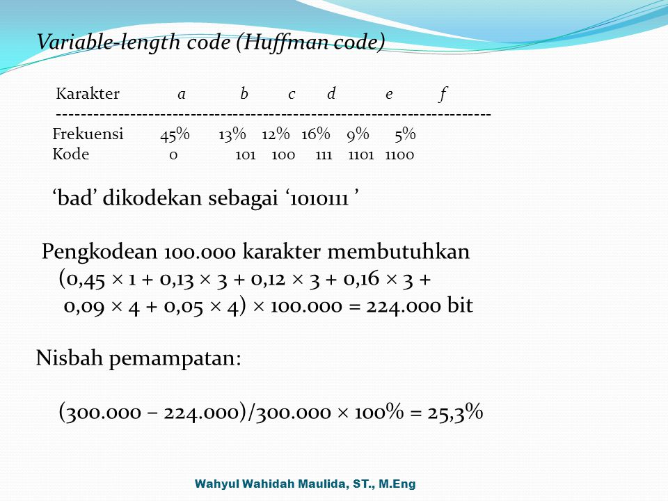 Variable-length code (Huffman code)
