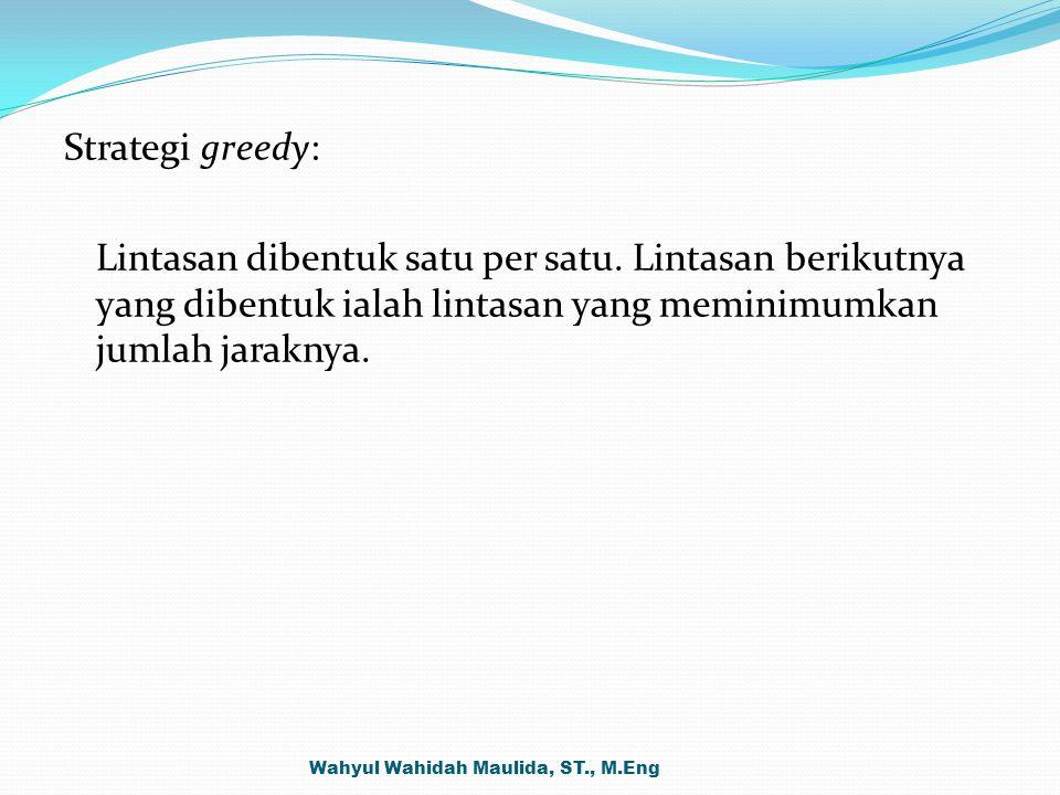Strategi greedy: Lintasan dibentuk satu per satu