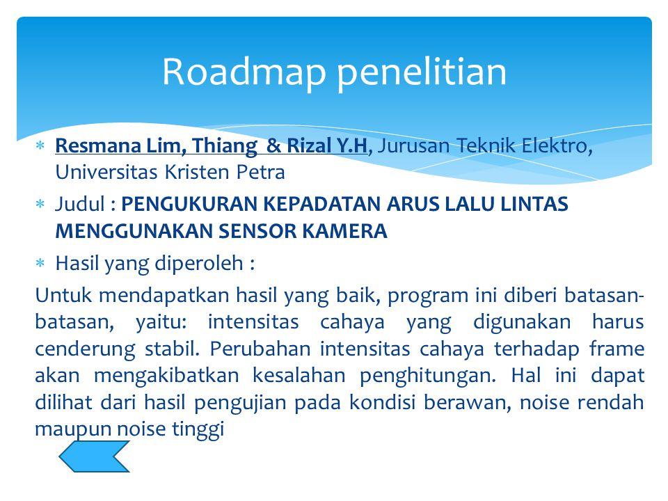 Roadmap penelitian Resmana Lim, Thiang & Rizal Y.H, Jurusan Teknik Elektro, Universitas Kristen Petra.