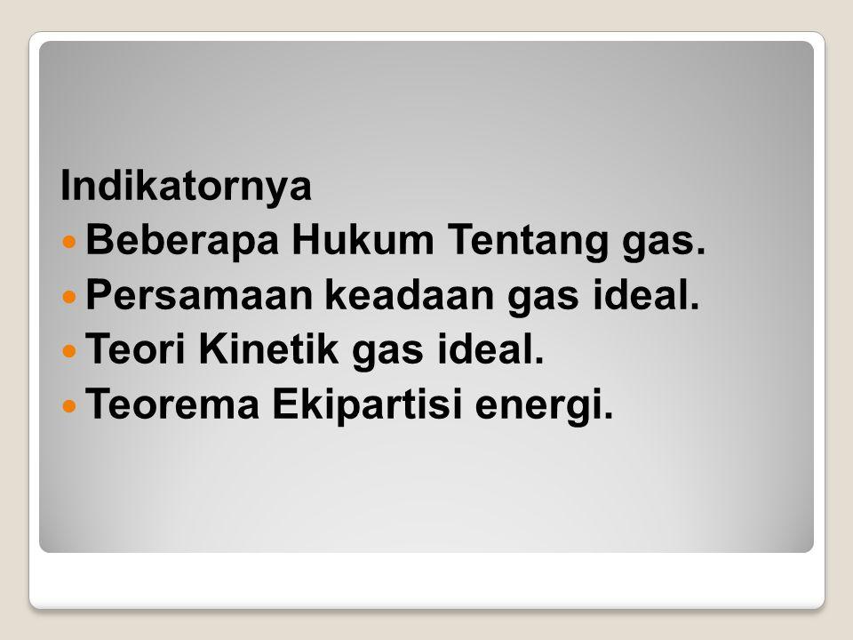 Indikatornya Beberapa Hukum Tentang gas. Persamaan keadaan gas ideal.