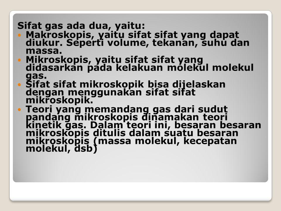 Sifat gas ada dua, yaitu: