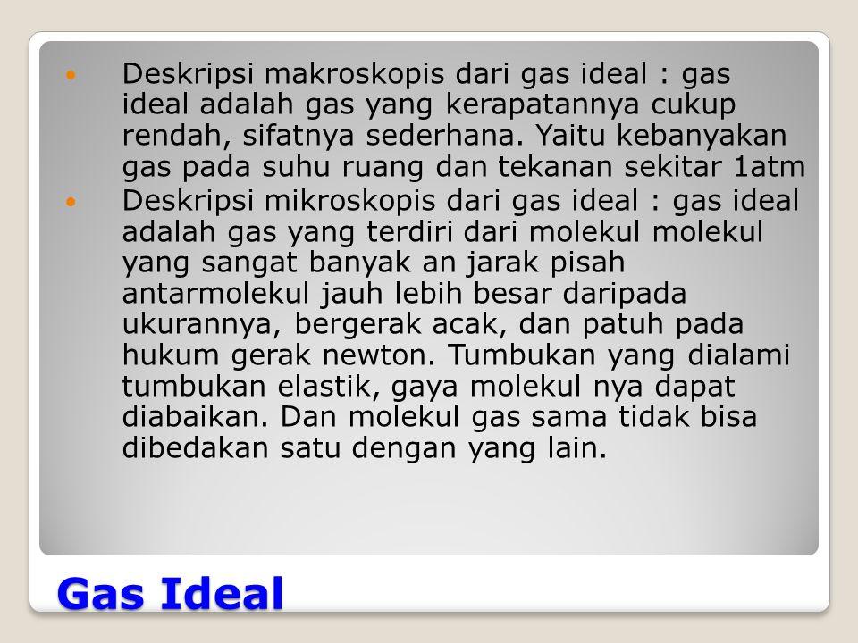 Deskripsi makroskopis dari gas ideal : gas ideal adalah gas yang kerapatannya cukup rendah, sifatnya sederhana. Yaitu kebanyakan gas pada suhu ruang dan tekanan sekitar 1atm