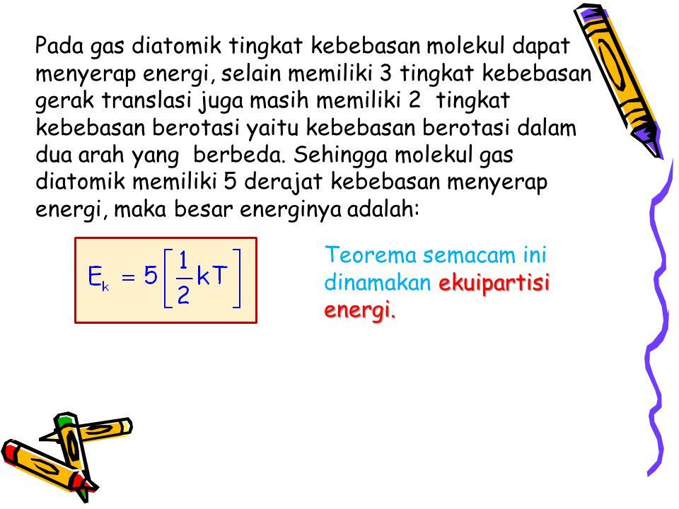 Pada gas diatomik tingkat kebebasan molekul dapat menyerap energi, selain memiliki 3 tingkat kebebasan gerak translasi juga masih memiliki 2 tingkat kebebasan berotasi yaitu kebebasan berotasi dalam dua arah yang berbeda. Sehingga molekul gas diatomik memiliki 5 derajat kebebasan menyerap energi, maka besar energinya adalah:
