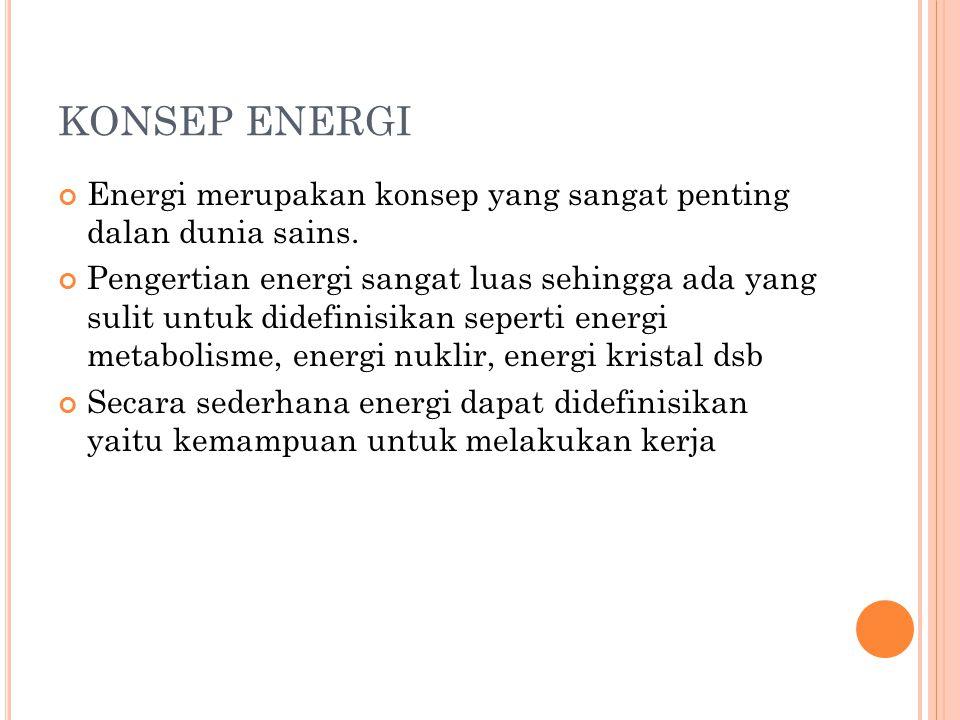 KONSEP ENERGI Energi merupakan konsep yang sangat penting dalan dunia sains.