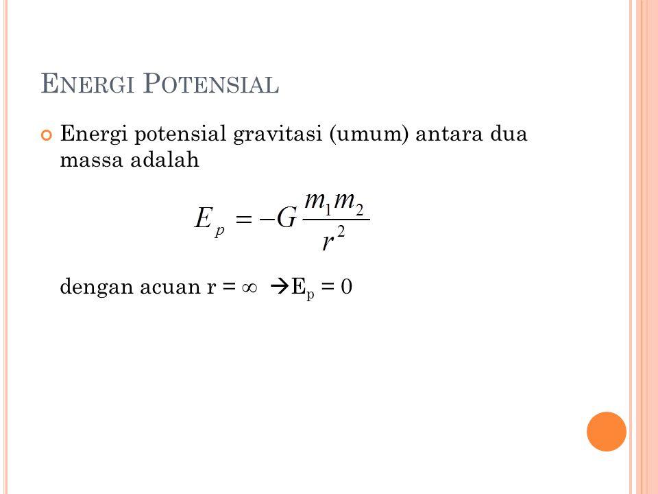 Energi Potensial Energi potensial gravitasi (umum) antara dua massa adalah.