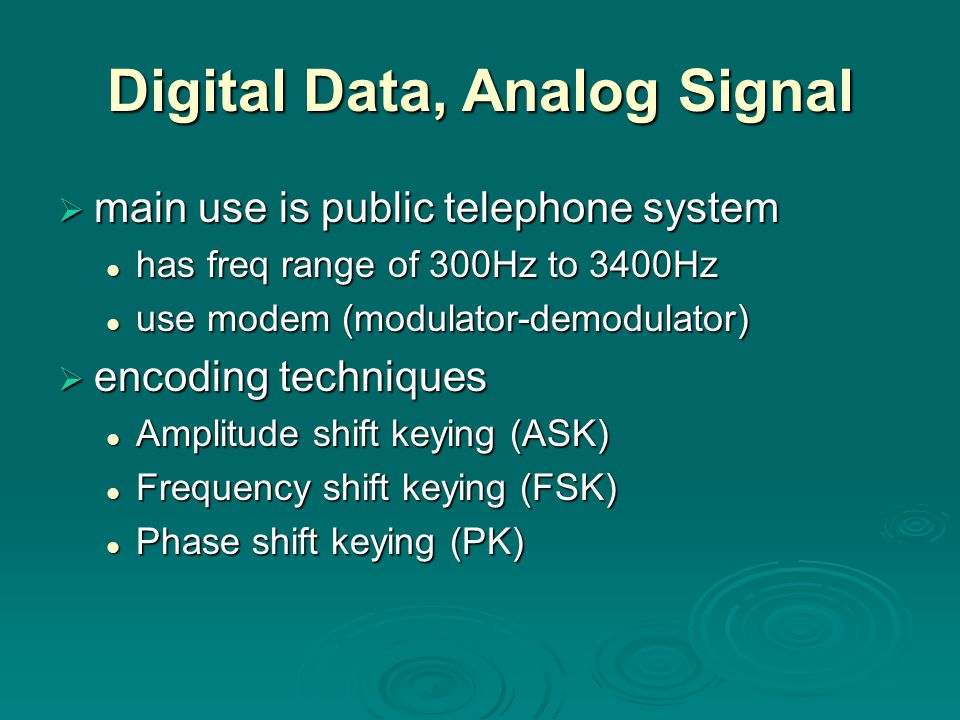 Digital Data, Analog Signal