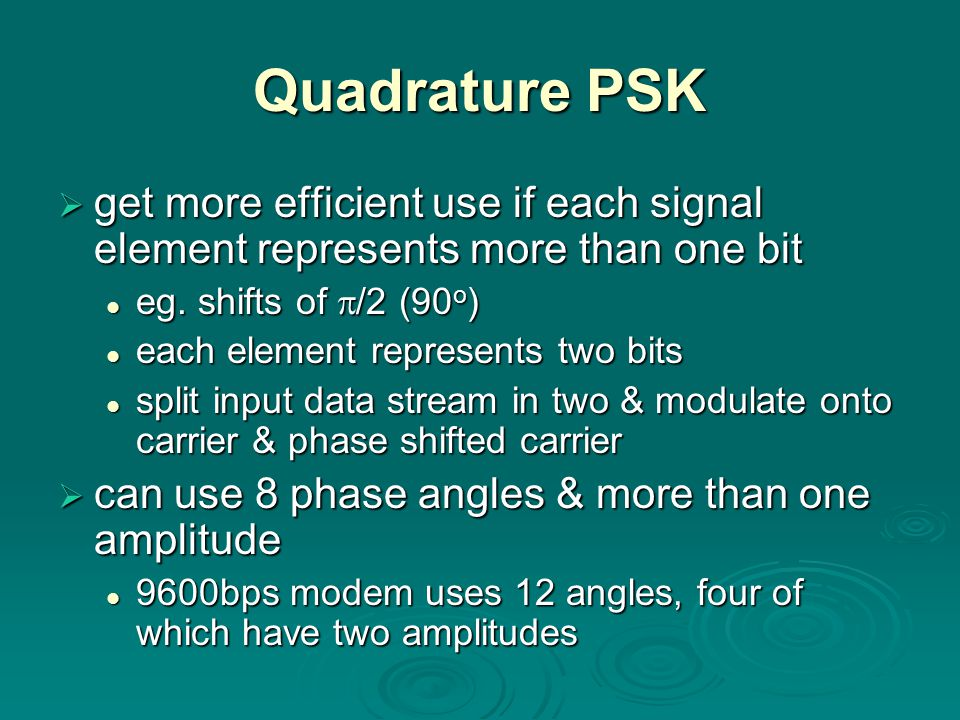 Quadrature PSK get more efficient use if each signal element represents more than one bit. eg. shifts of /2 (90o)