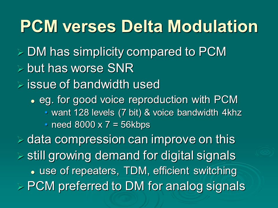 PCM verses Delta Modulation