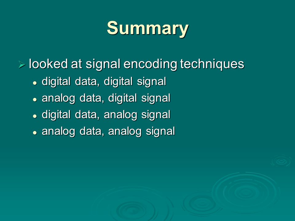 Summary looked at signal encoding techniques