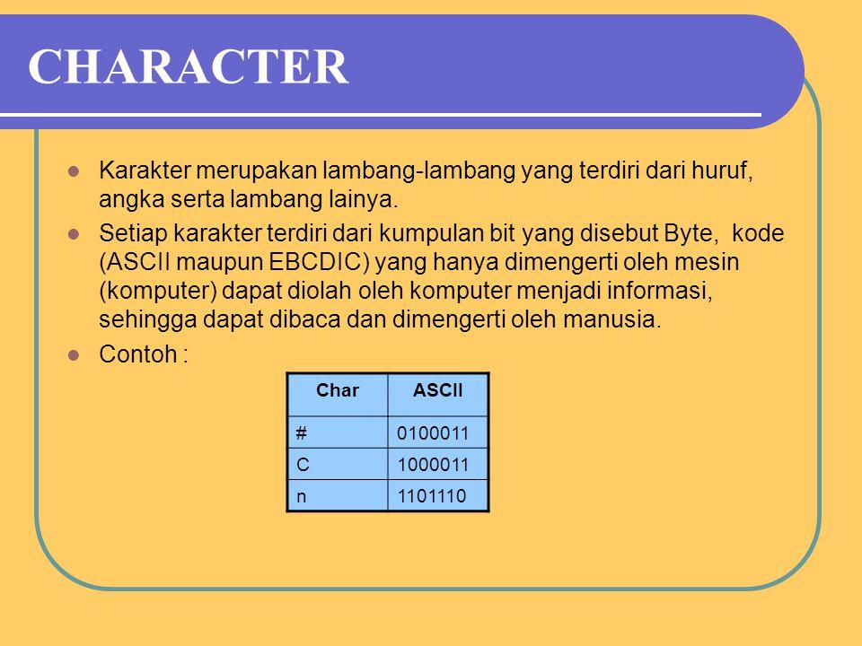 CHARACTER Karakter merupakan lambang-lambang yang terdiri dari huruf, angka serta lambang lainya.
