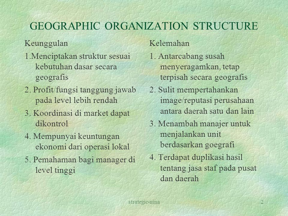 GEOGRAPHIC ORGANIZATION STRUCTURE
