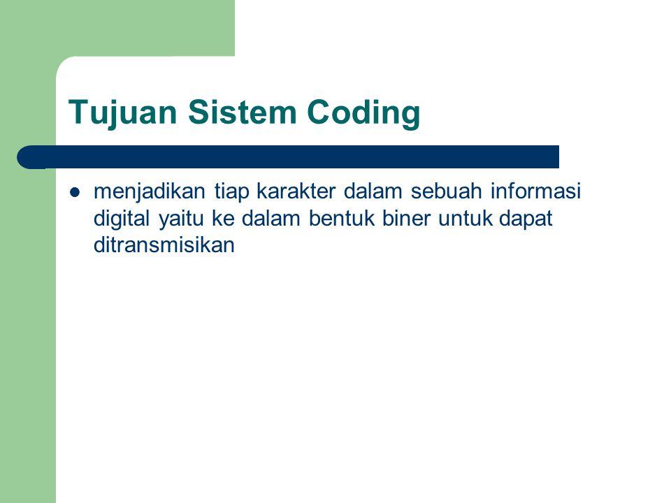 Tujuan Sistem Coding menjadikan tiap karakter dalam sebuah informasi digital yaitu ke dalam bentuk biner untuk dapat ditransmisikan.