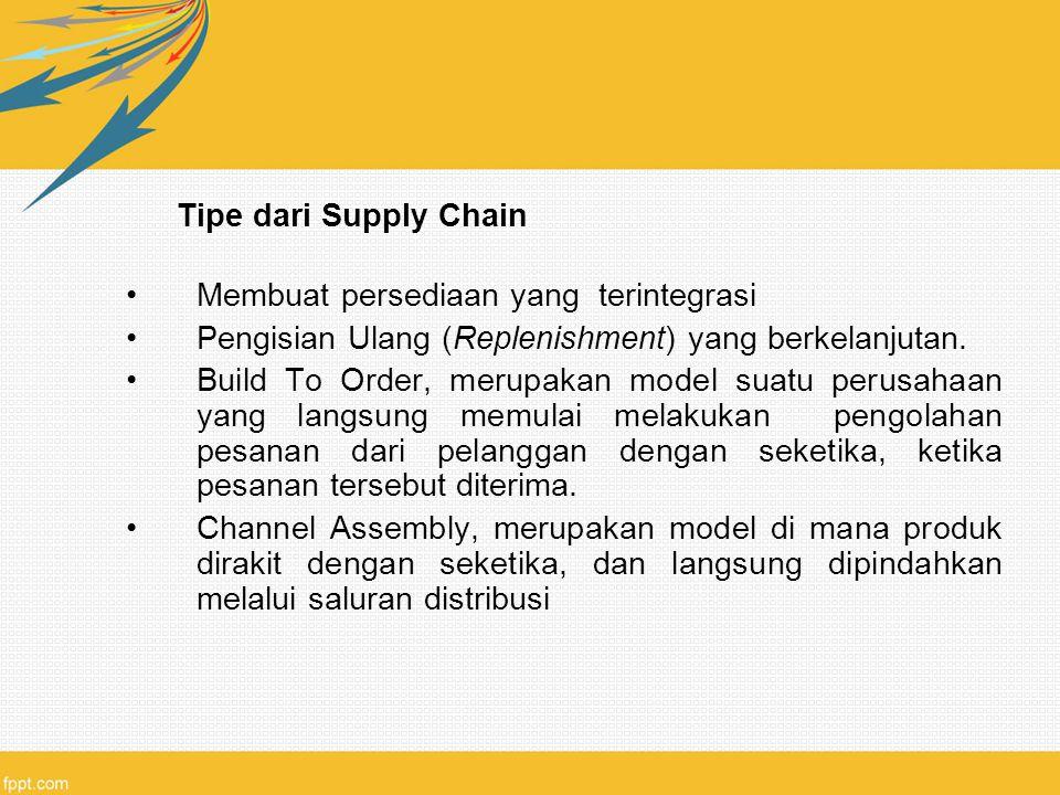 Tipe dari Supply Chain Membuat persediaan yang terintegrasi. Pengisian Ulang (Replenishment) yang berkelanjutan.