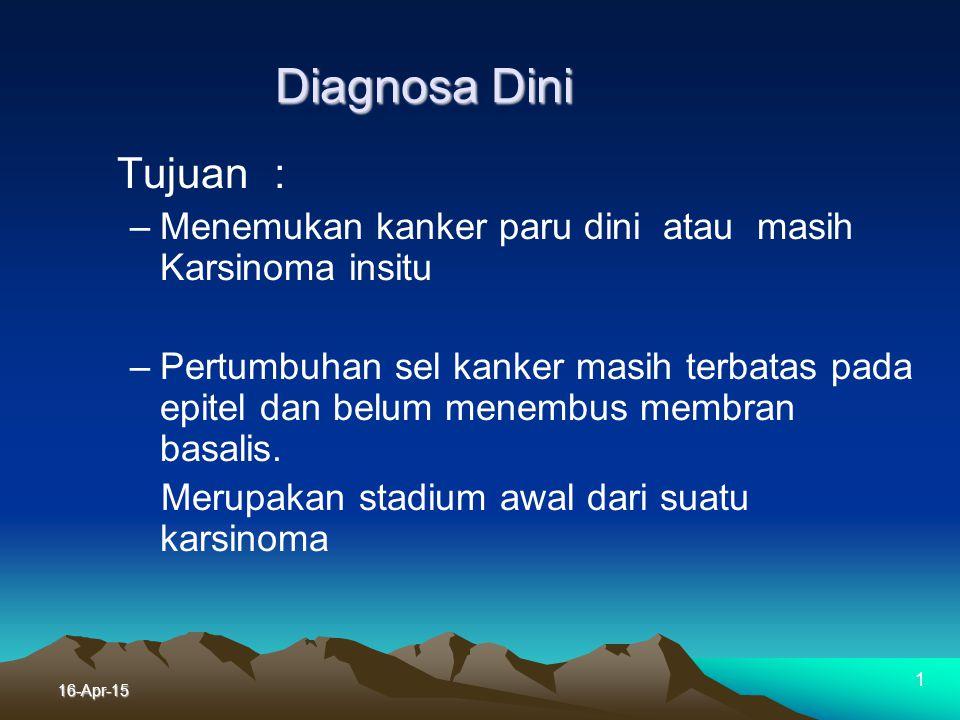 Diagnosa Dini Tujuan : Menemukan kanker paru dini atau masih Karsinoma insitu.