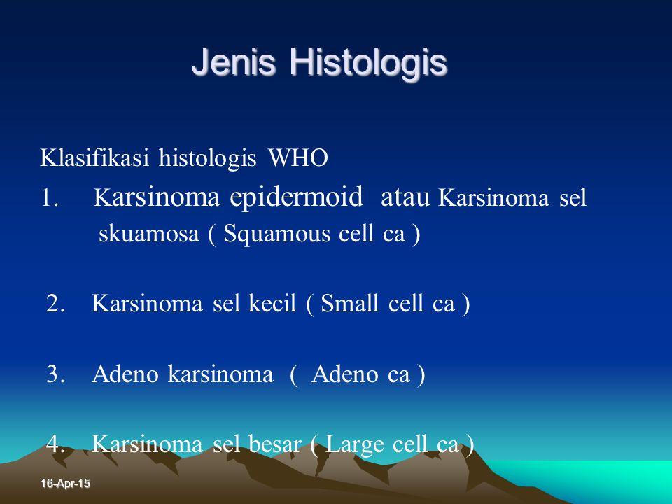 Jenis Histologis Klasifikasi histologis WHO