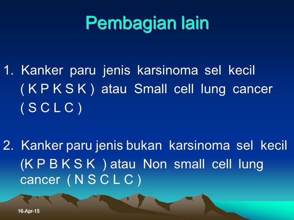 Pembagian lain 1. Kanker paru jenis karsinoma sel kecil