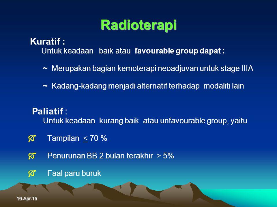 Radioterapi Untuk keadaan baik atau favourable group dapat :
