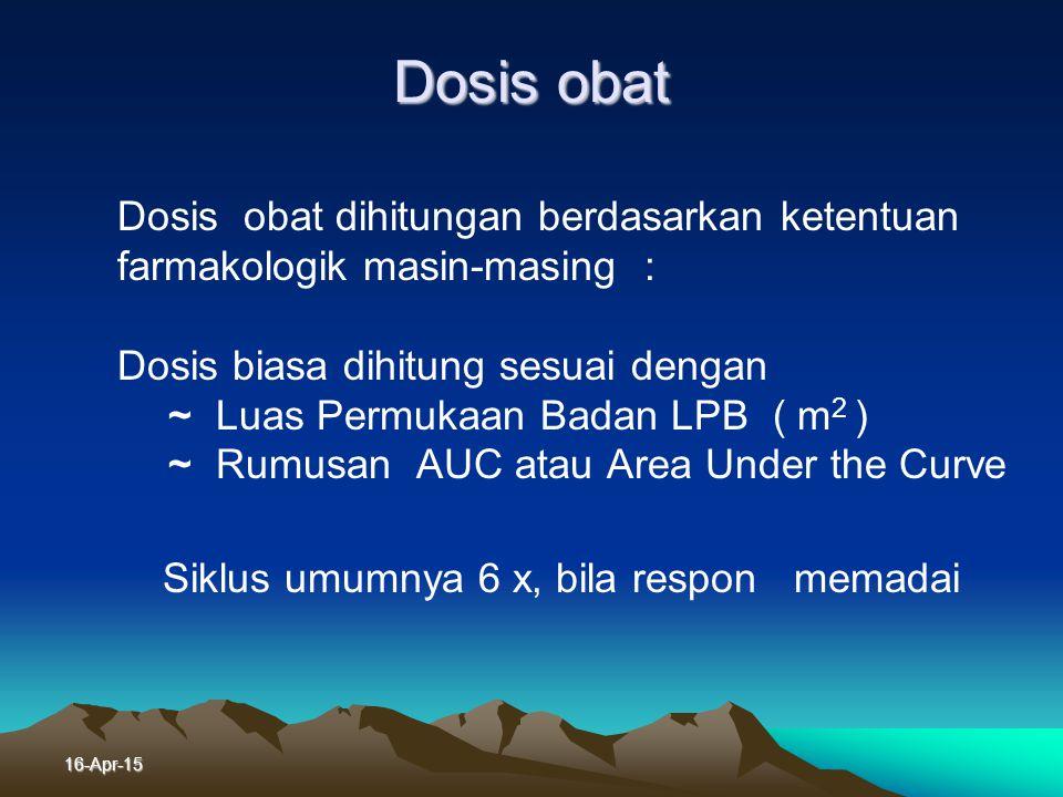 Dosis obat Dosis obat dihitungan berdasarkan ketentuan