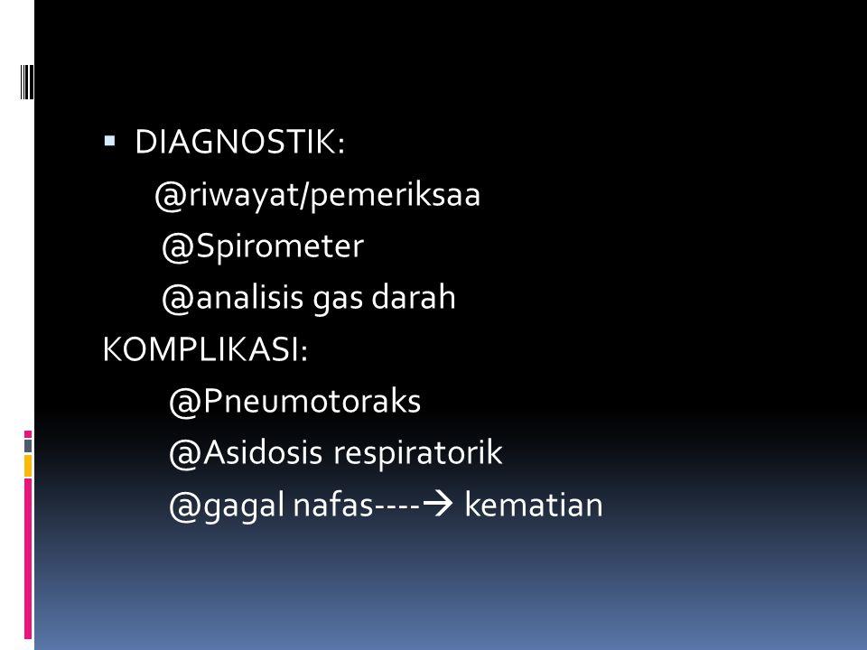 DIAGNOSTIK: @riwayat/pemeriksaa. @Spirometer. @analisis gas darah. KOMPLIKASI: @Pneumotoraks. @Asidosis respiratorik.