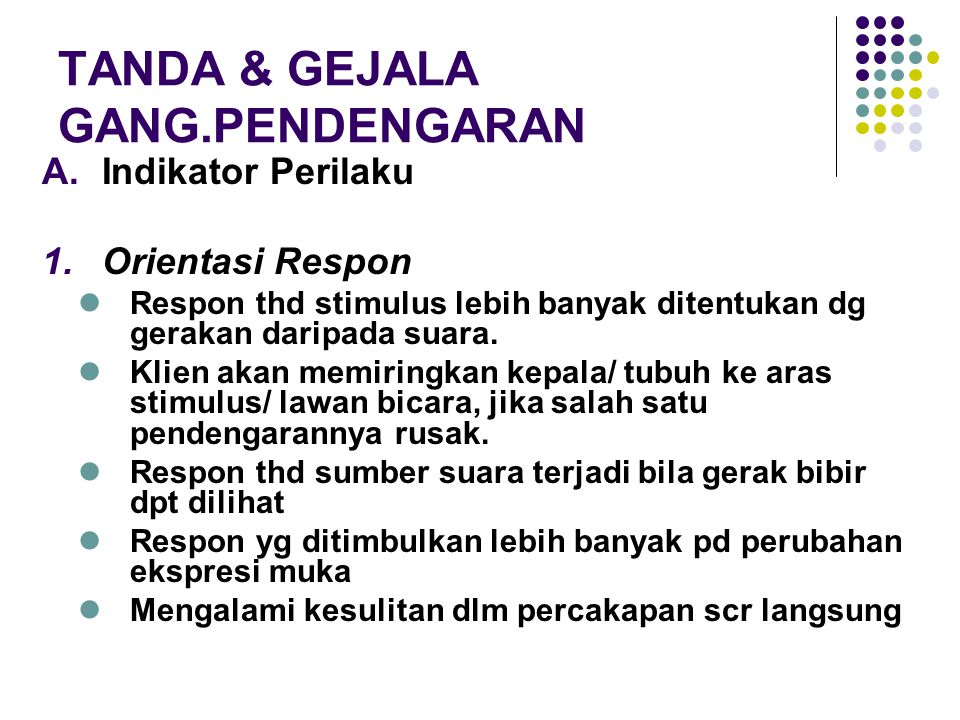 TANDA & GEJALA GANG.PENDENGARAN