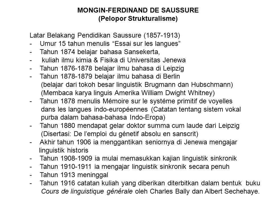 MONGIN-FERDINAND DE SAUSSURE (Pelopor Strukturalisme)