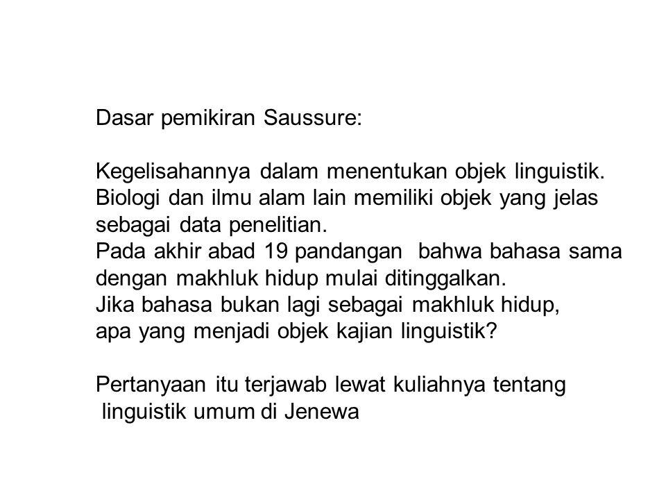 Dasar pemikiran Saussure: