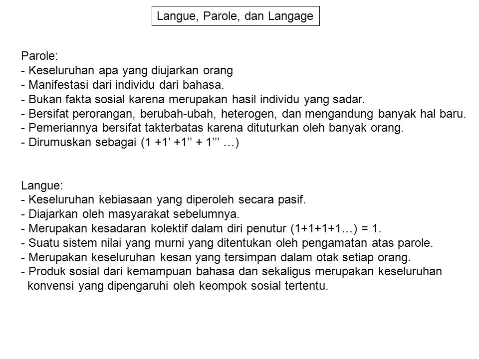Langue, Parole, dan Langage