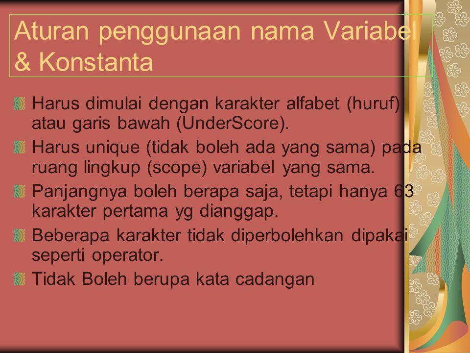 Aturan penggunaan nama Variabel & Konstanta