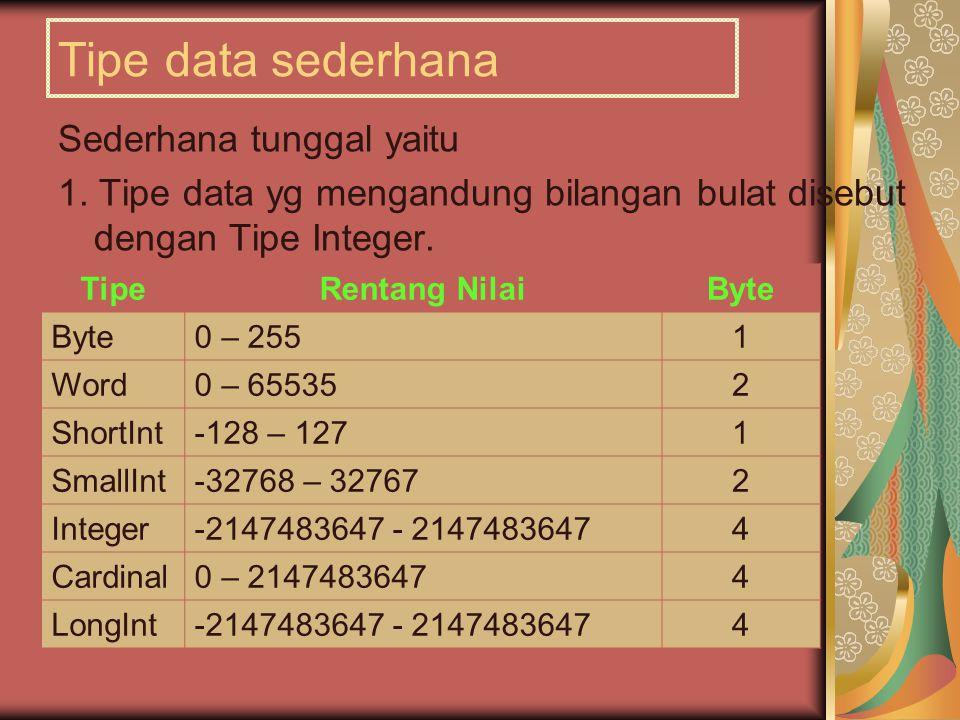 Tipe data sederhana Sederhana tunggal yaitu