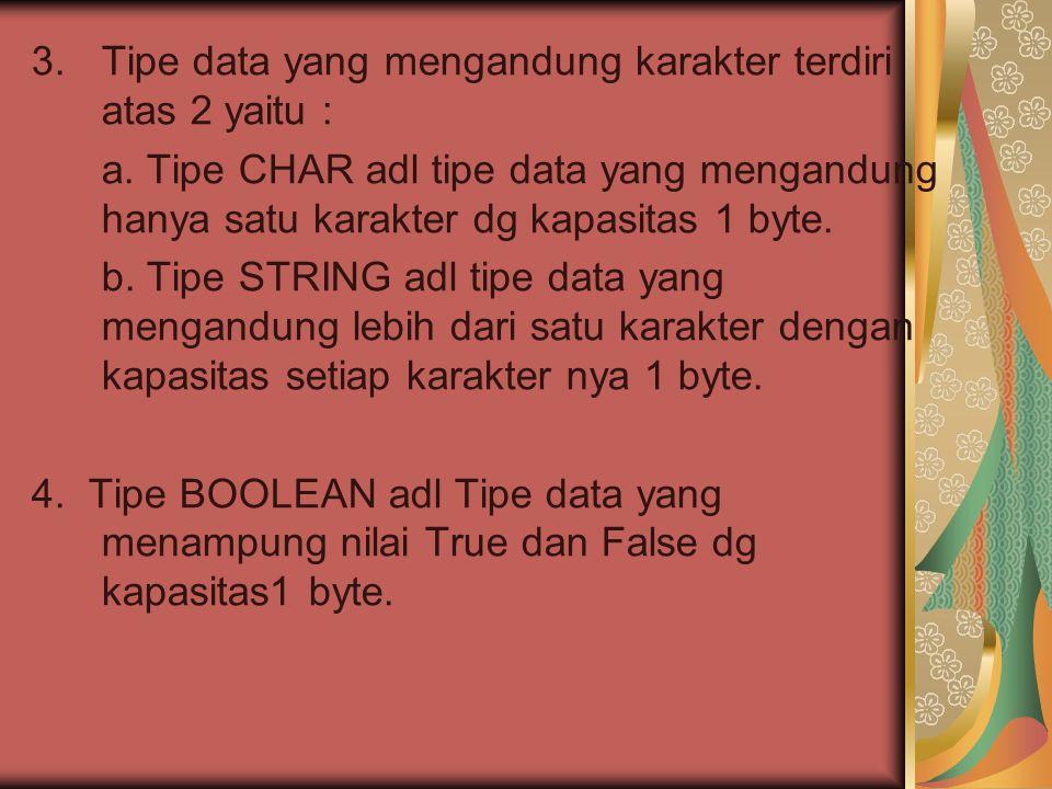 Tipe data yang mengandung karakter terdiri atas 2 yaitu :