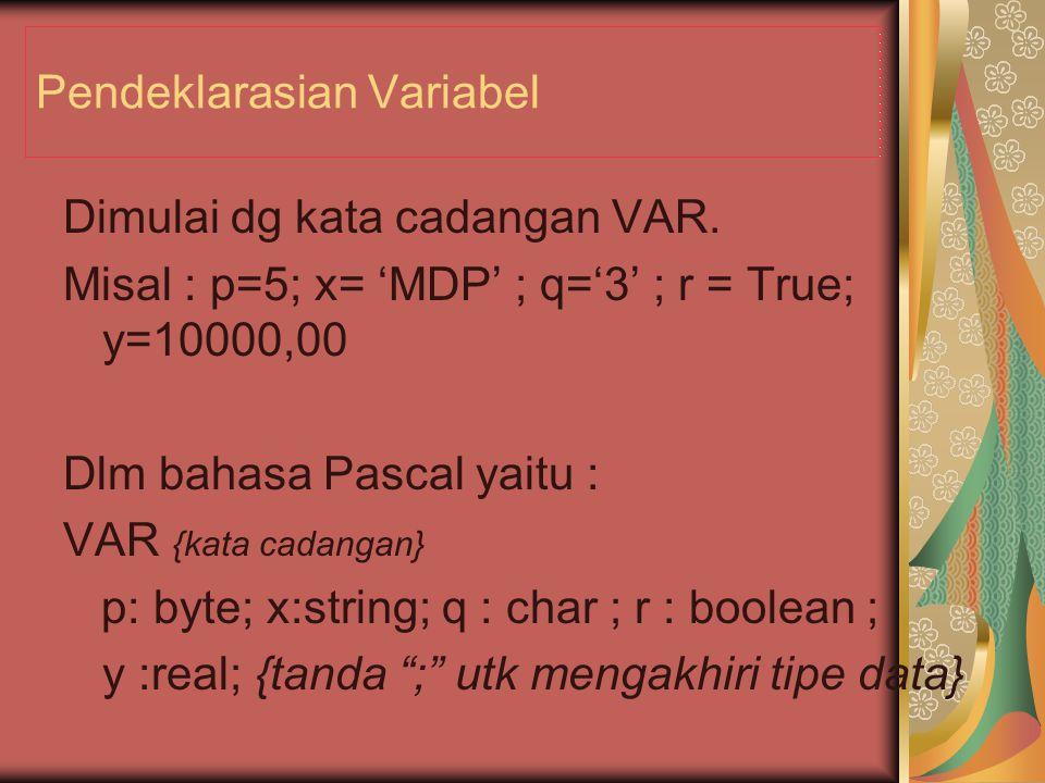 Pendeklarasian Variabel
