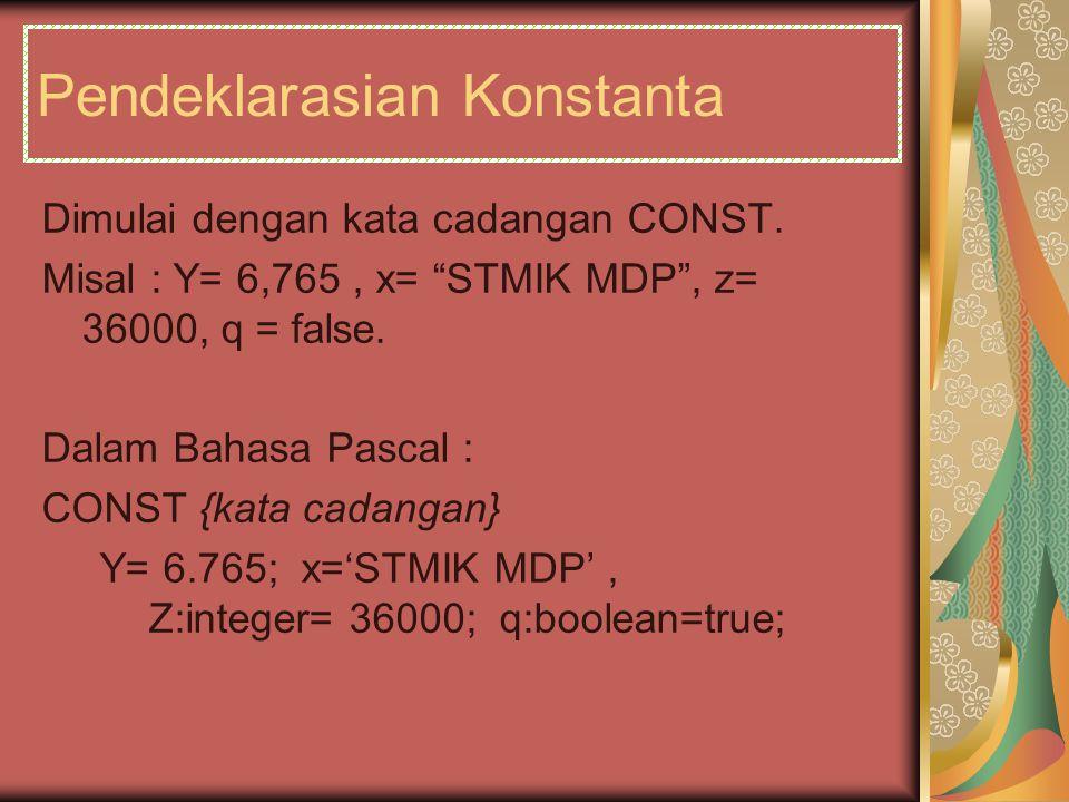 Pendeklarasian Konstanta