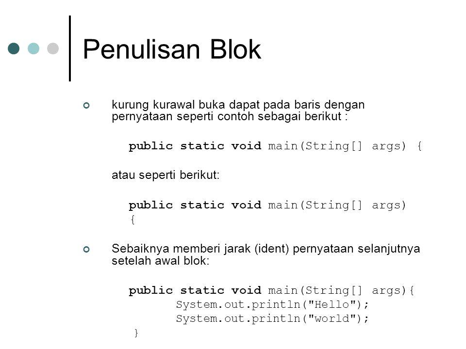Penulisan Blok kurung kurawal buka dapat pada baris dengan pernyataan seperti contoh sebagai berikut :