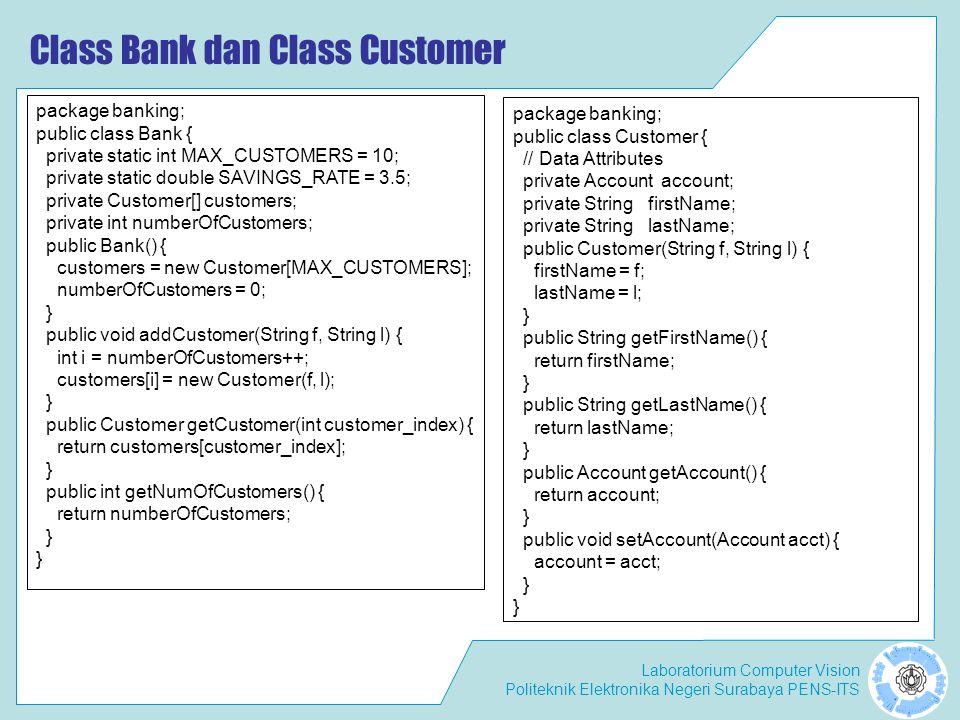 Class Bank dan Class Customer